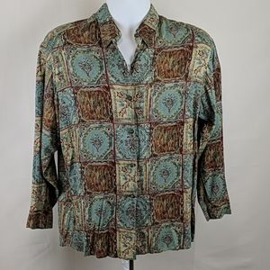 Vintage 70s Men's Patterned Rayon Button Up Size S